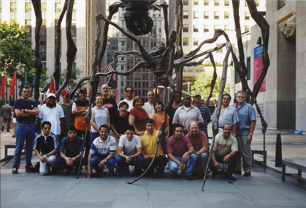 Modern Art Foundry staff, 2001 Maman By Louise Bourgeois Rockefeller Plaza, NYC.